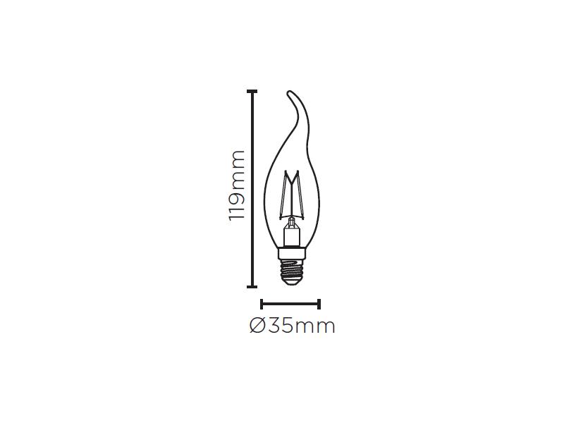 LAMP LED VELA CHAMA FILAMENTO DIM E14 4W 127V STH8371/24