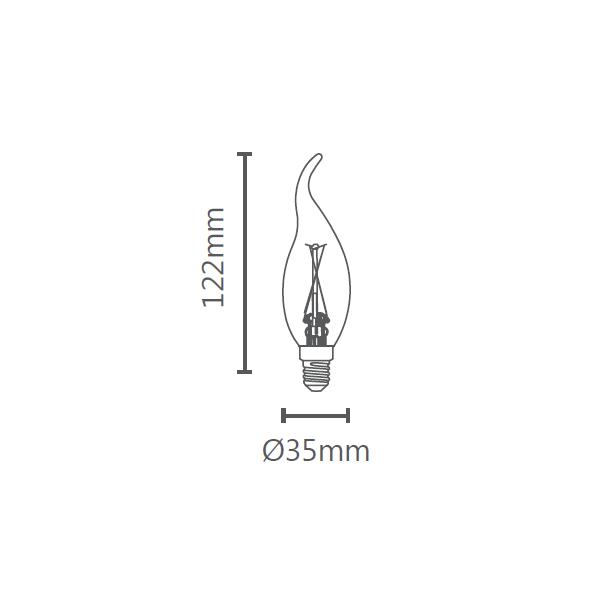 LAMP LED VELA CHAMA VINTAGE E14 2W 127V STH6331/24