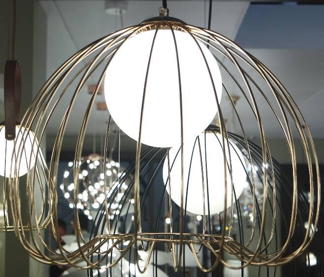 PENDENTE LAMP 38cmx33cm  1xG9 BIVOLT FRENCH GOLD/B