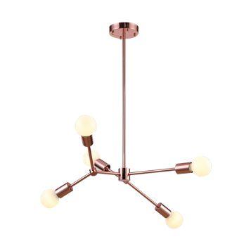 PENDENTE LEBLON METAL  60cm  x 118cm  5 X E27 200W 127V / 220V ROSE GOLD