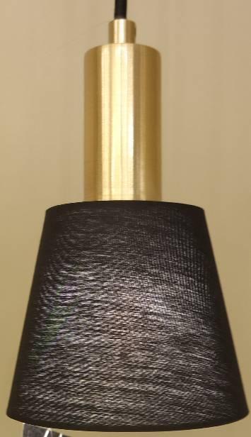 PENDENTE PIPE 12cm x 19,5cm  1xE14 127V / 220V DOURADO E PRETO
