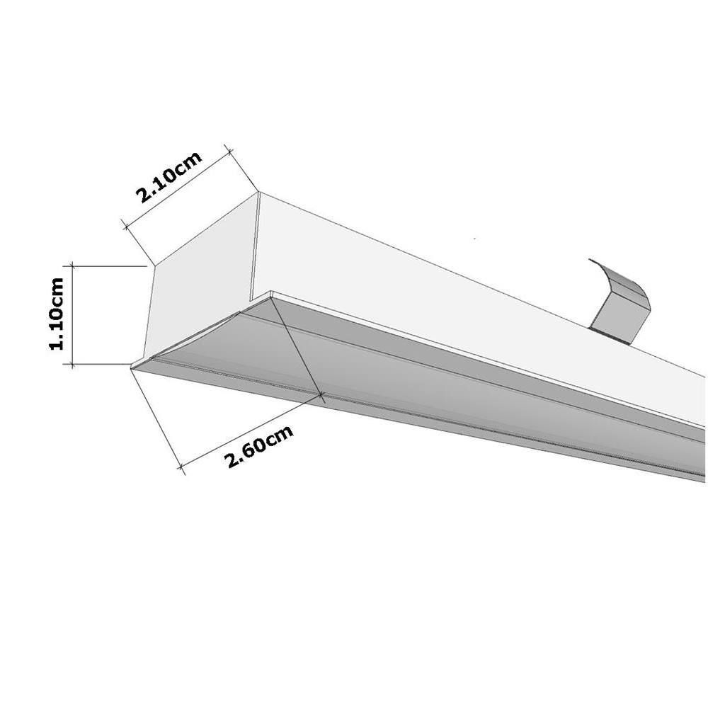 Perfil de Led Sala Affilato Embutido Gesso Fino Altura do Drywall Ilunato ILT2520