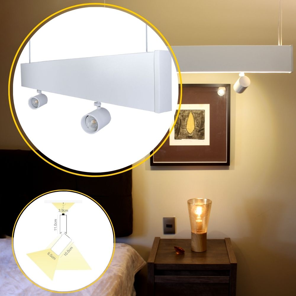 Perfil de Led Allegro pendente com spot e luz indireta / 19W/m / alumínio e acrílico IILT0840