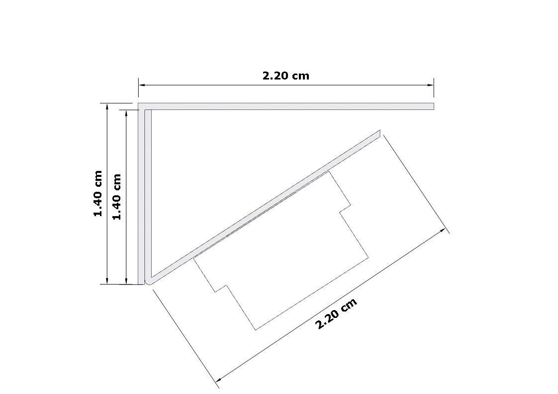 Perfil de Led Delizie Sobreposto Assimétrico Luz a 45° Sanca Marcenaria ILT0480