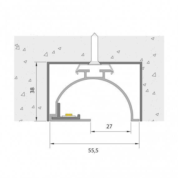 perfil de led embutido alvenaria R27 Mister led SLED9068