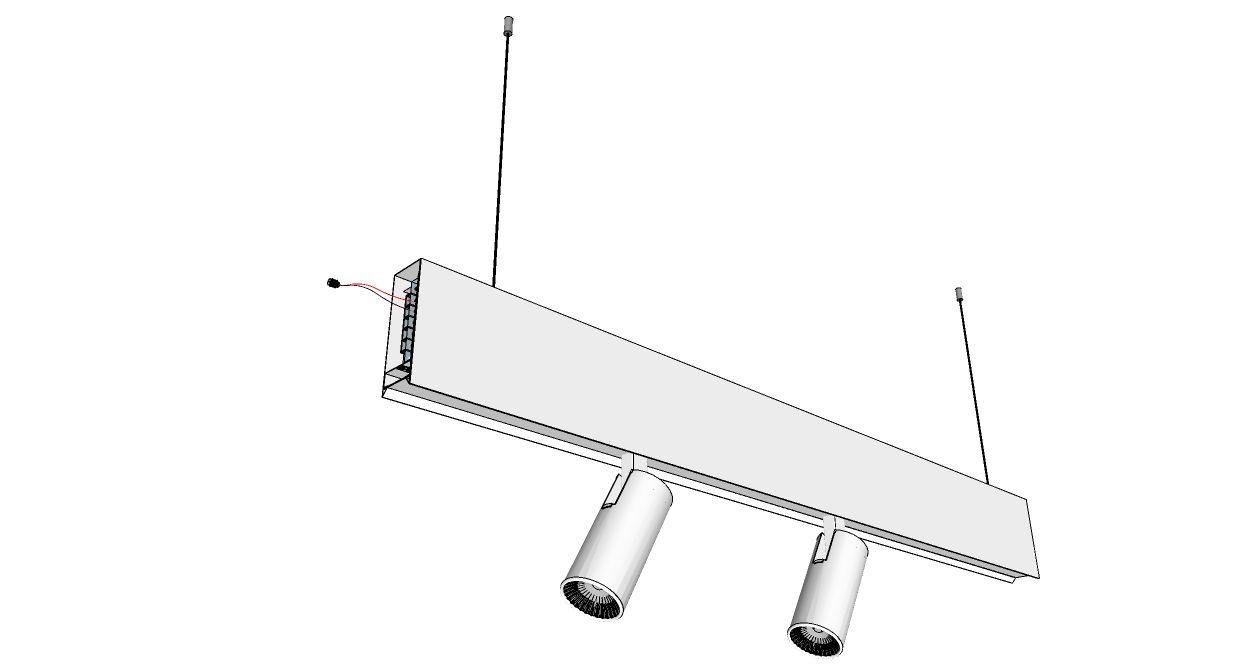 perfil de led pendente ATTESA difuso + spot branco ilunato ILT0806