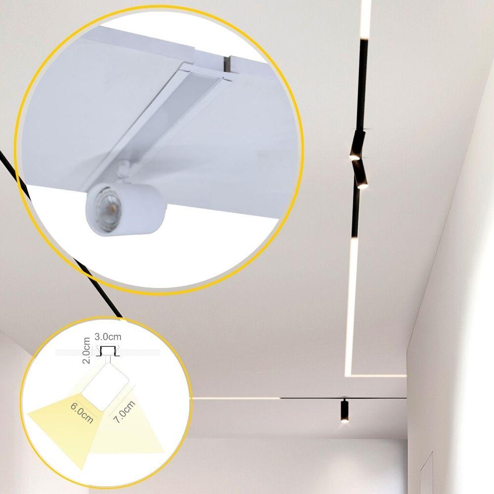 Perfil de Led Pieno embutir no gesso COM SPOT / 19W/m / alumínio e acrílico ILT0260