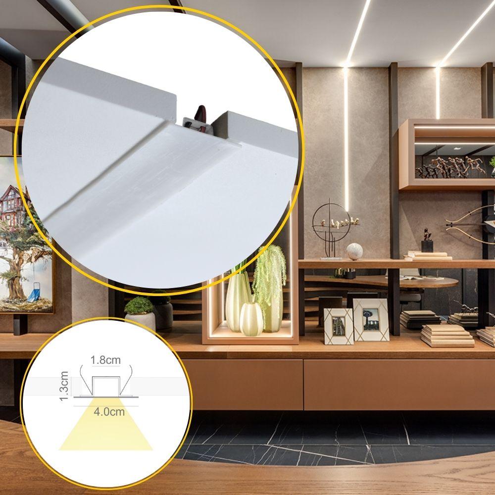 Perfil de Led TRACCIARE embutir no gesso / 19W/m / alumínio e acrílico ILT0600