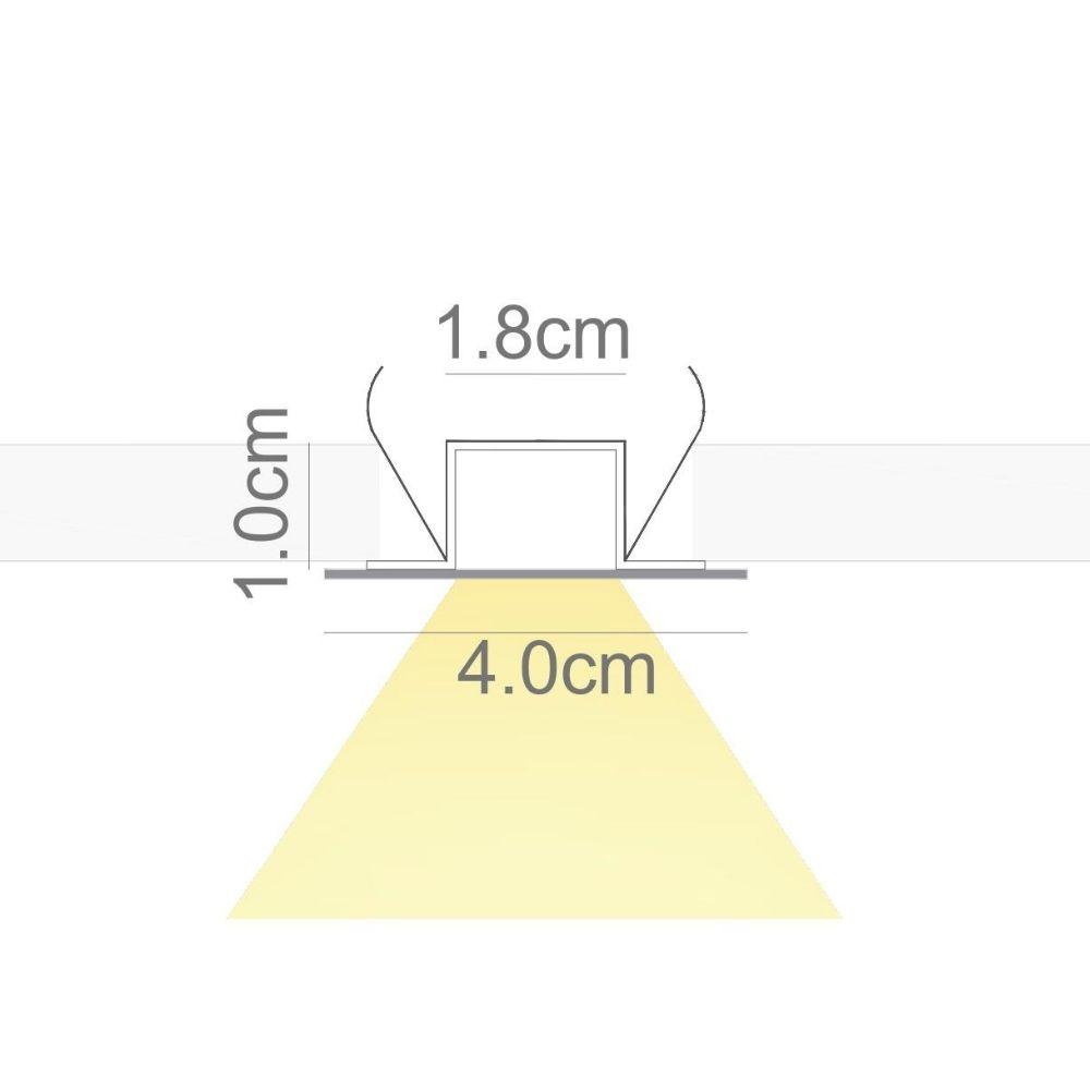 Perfil de Led TRACCIARE embutir no gesso / 19W/m/ alumínio e acrílico ILT0600
