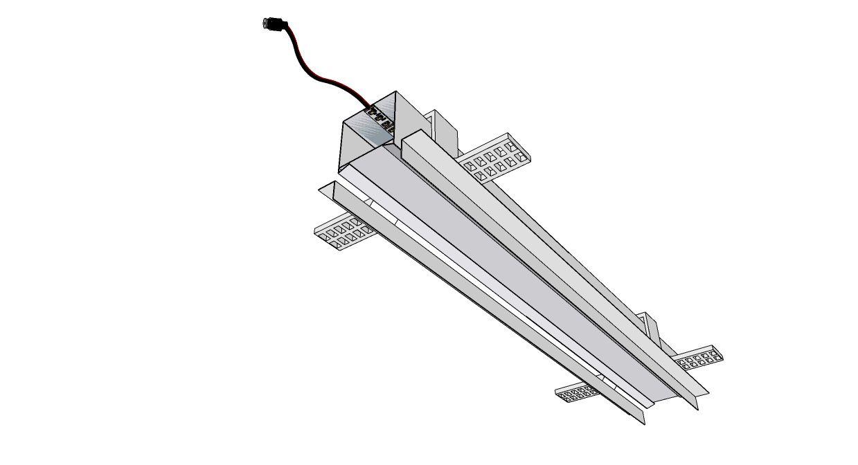perfil de led TRATTINO embutido gesso ilunato ILT0180