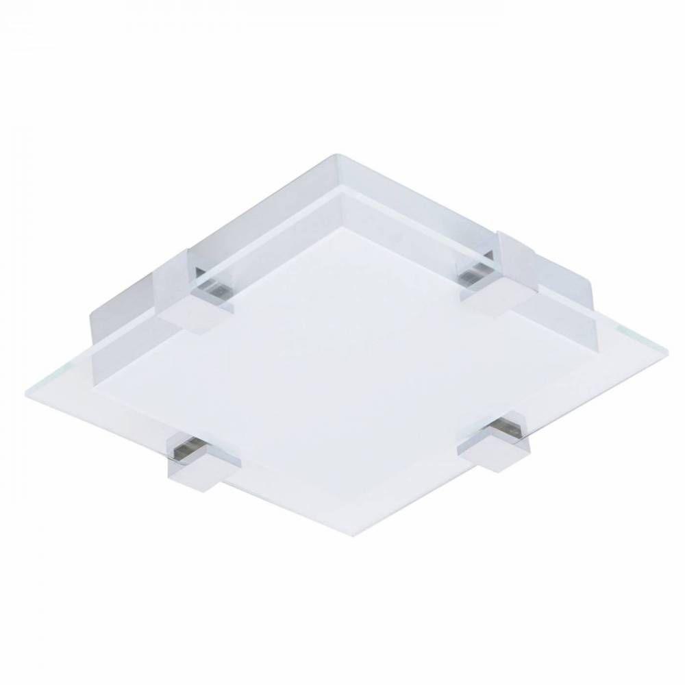 PLAFON METAL/VIDRO 30CMX30CMX7CM  LED12W - PR/BR