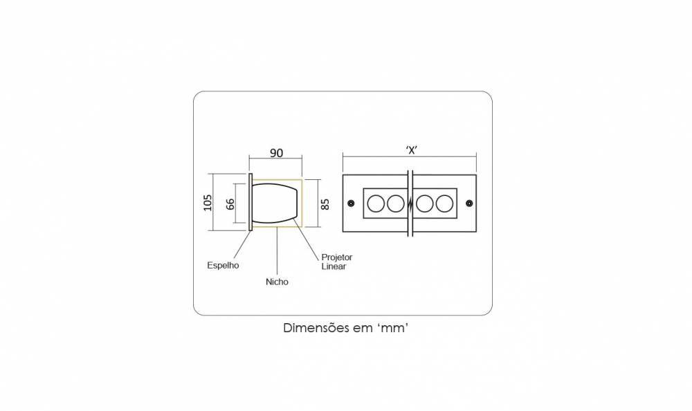 Projetor Linear led 12w quente Power Lume PL12W