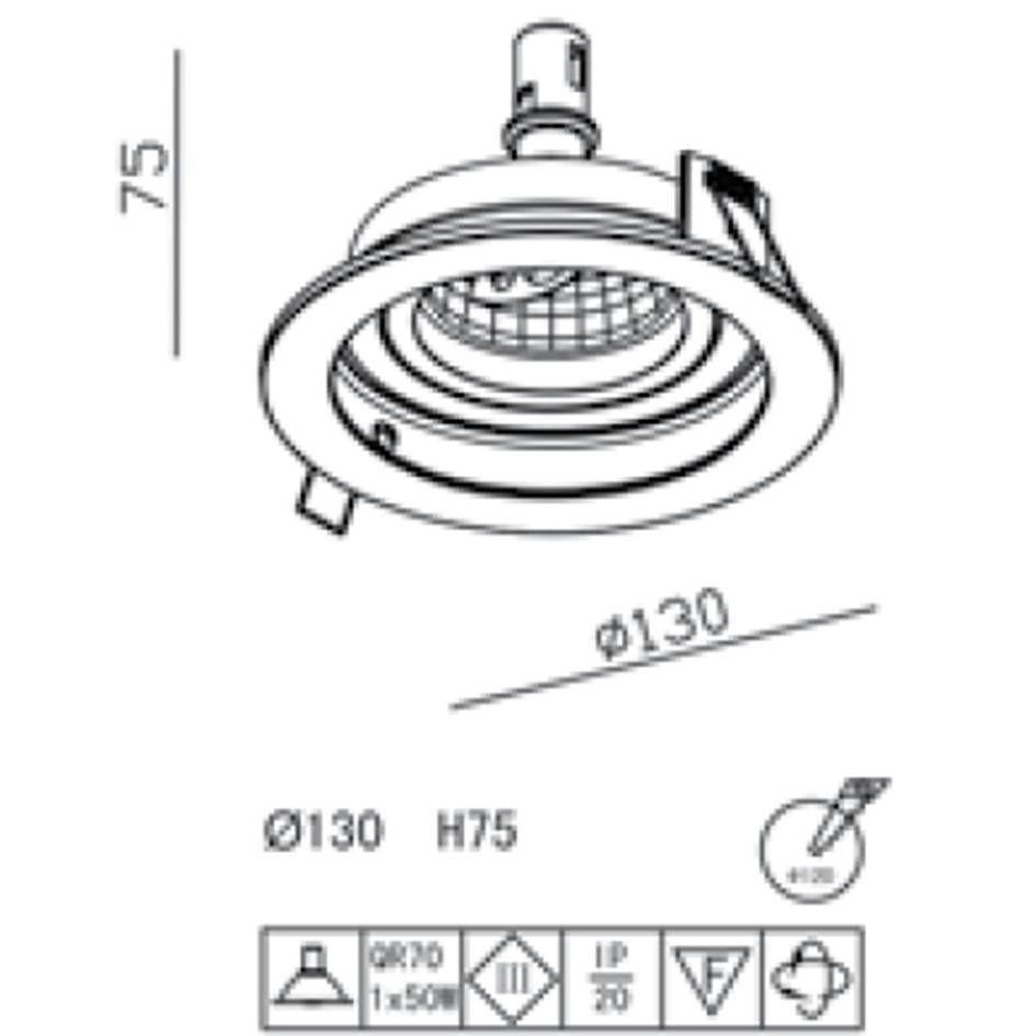 SPOT DE EMBUTIR CONECTA BRANCO E PRETO (D)13CM (A)3.5CM  1XE27 PAR20