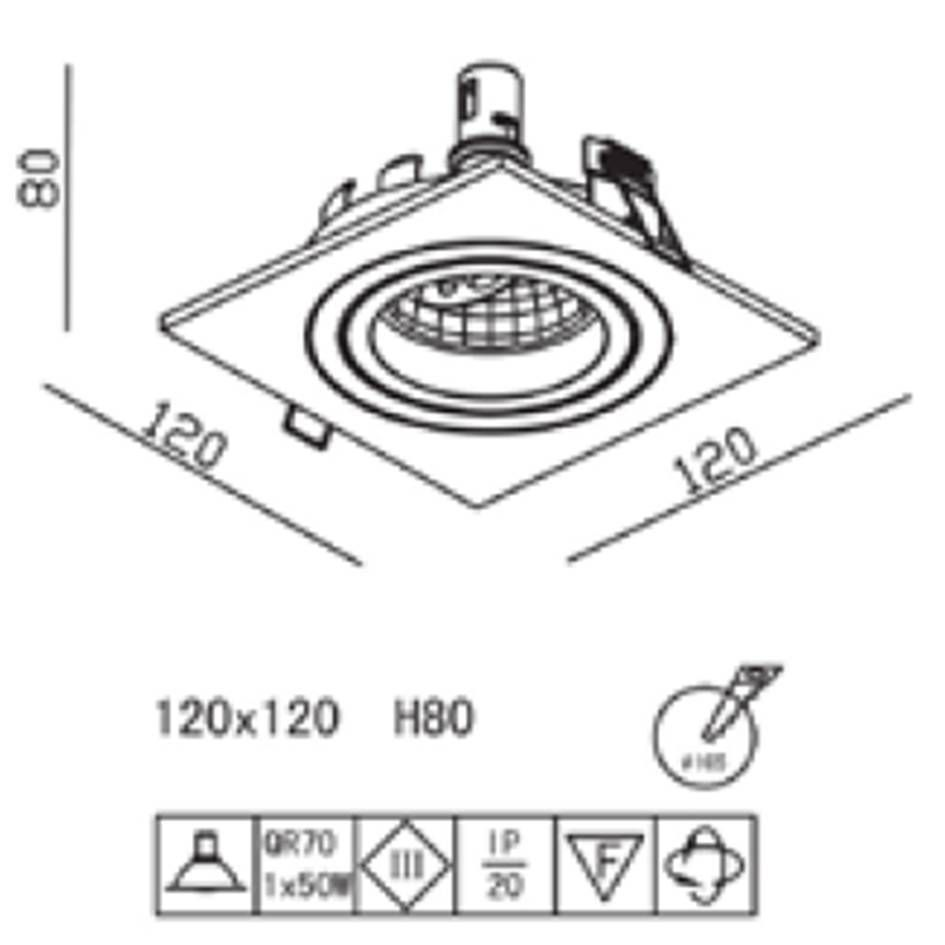 SPOT DE EMBUTIR ECCO BRANCO (L)12CM  (C) 12CM  (A)8CM   1XGU10 AR70