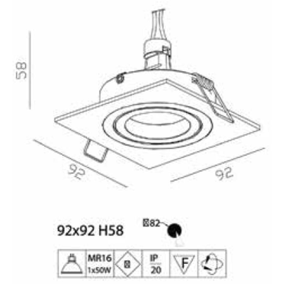 SPOT DE EMBUTIR ECCO BRANCO (C)9CM (L)9CM (A)5.8CM  1XGU10 MR16
