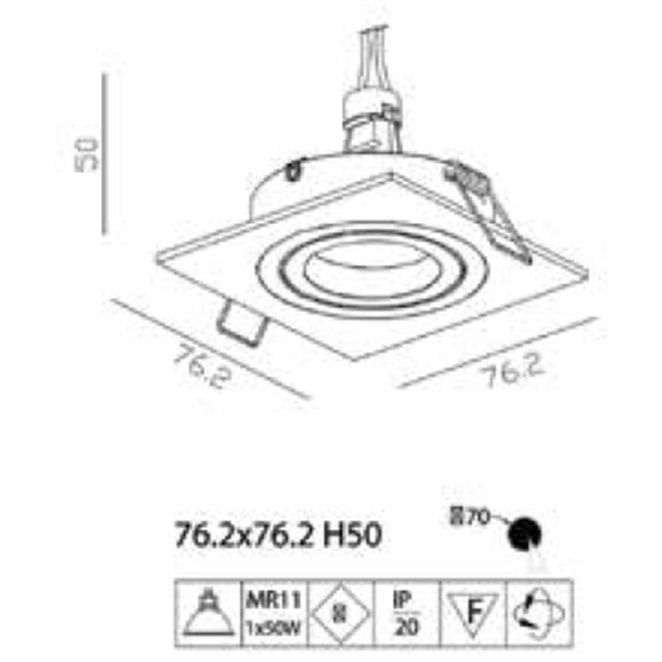 SPOT DE EMBUTIR ECCO BRANCO (C)7.5CM (L)7.5CM (A)3CM  1XGU10 MR11