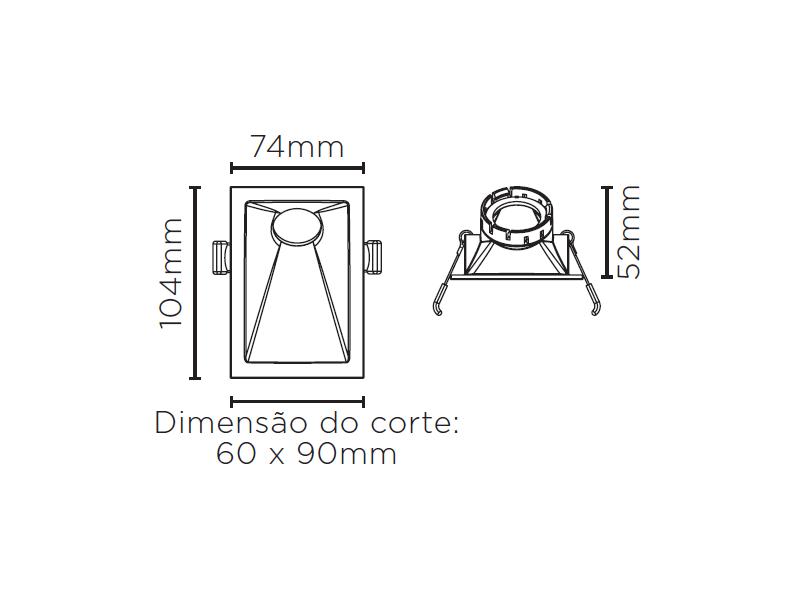 EMBUTIDO ANGULAR 40° SQUARE ANGLE MR11 STH8965BR/PTO