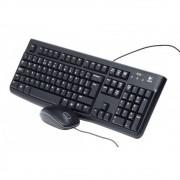 Teclado E Mouse Óptico Logitech Com Fio Usb Mk120 Preto