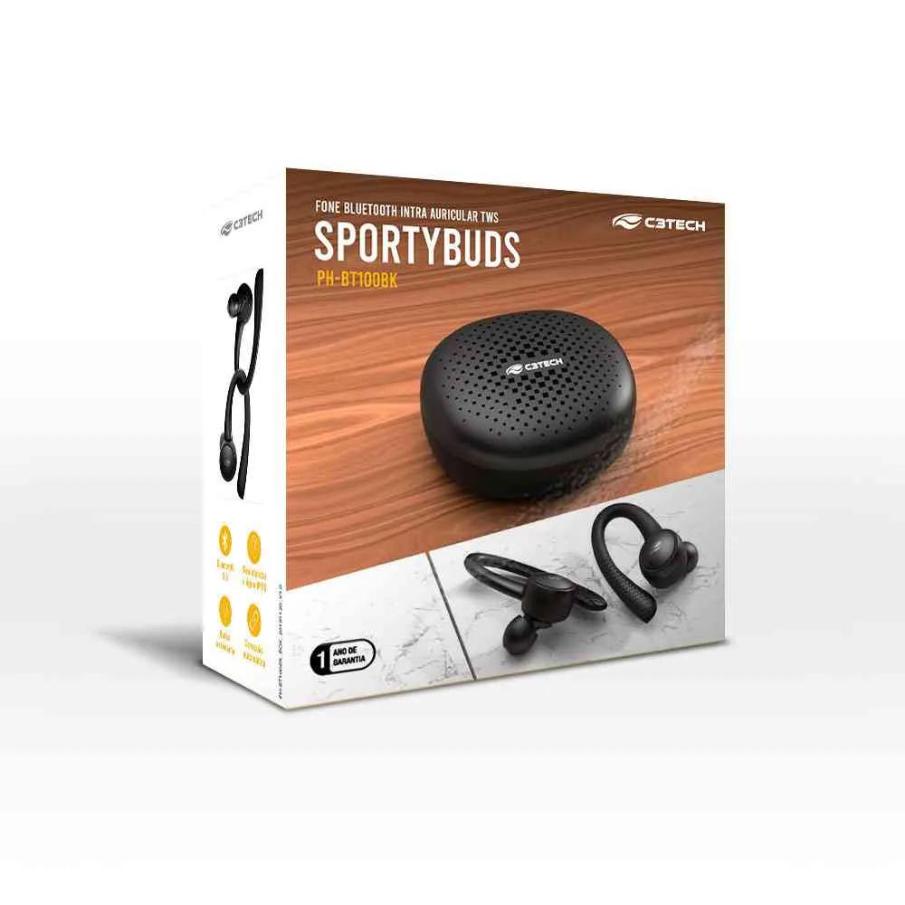 Fone Bluethooth Sportybuds C3TECH BT 5TWS EP-TWS-100BK