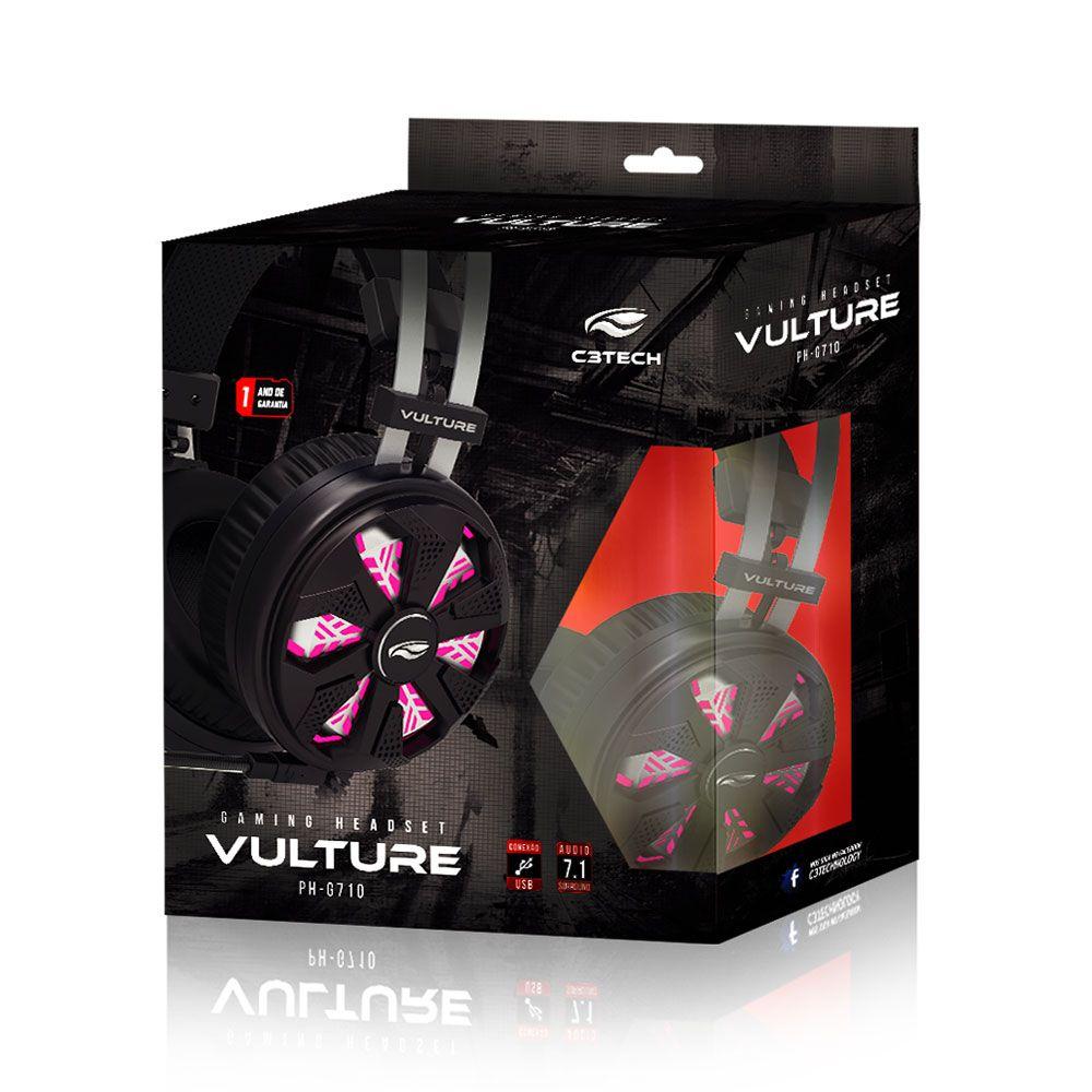 Headset Gamer C3Tech Vulture 7.1 Preto Ph-g710bk