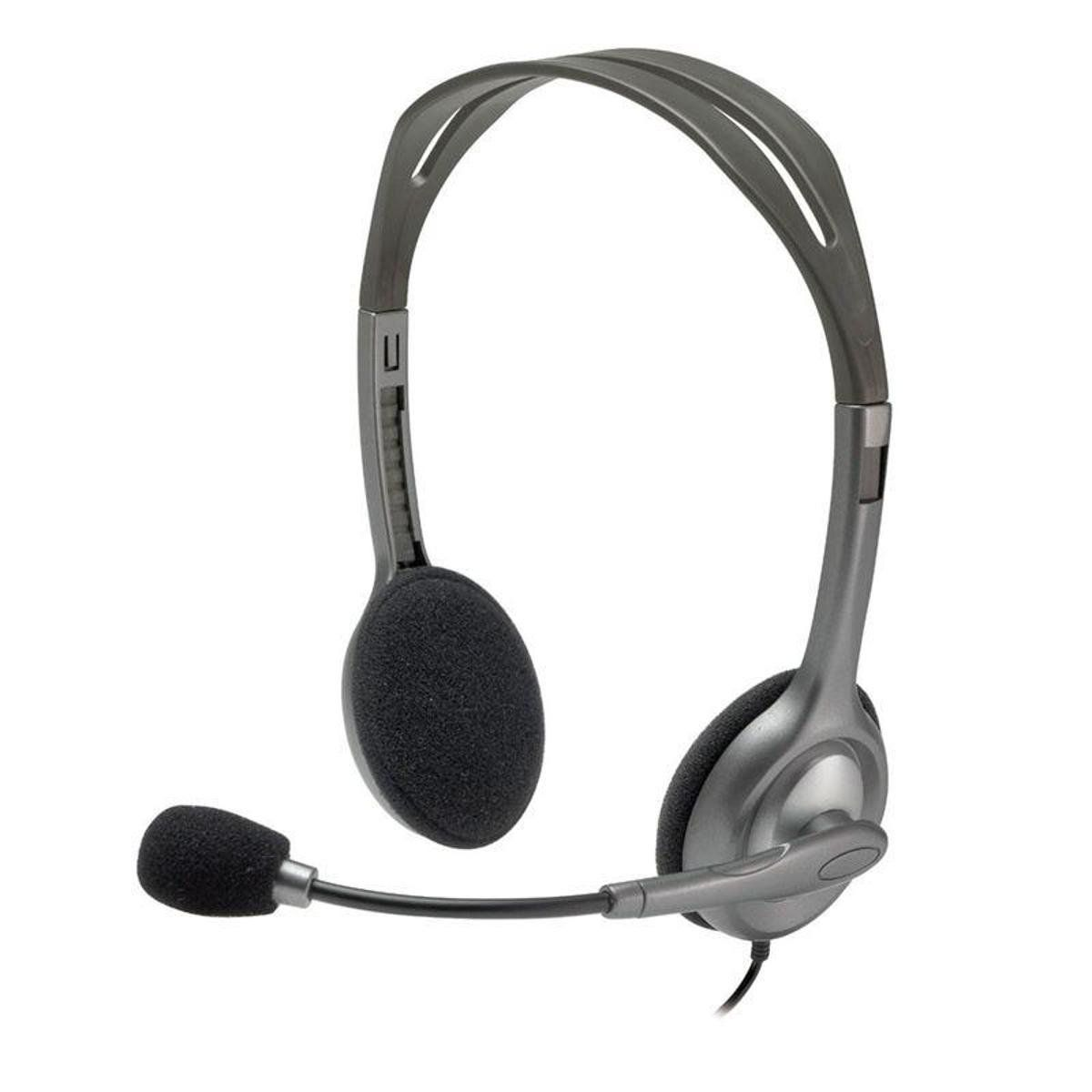 Headset Logitech H111 Estéreo Analógico P3 3,5 mm Cinza