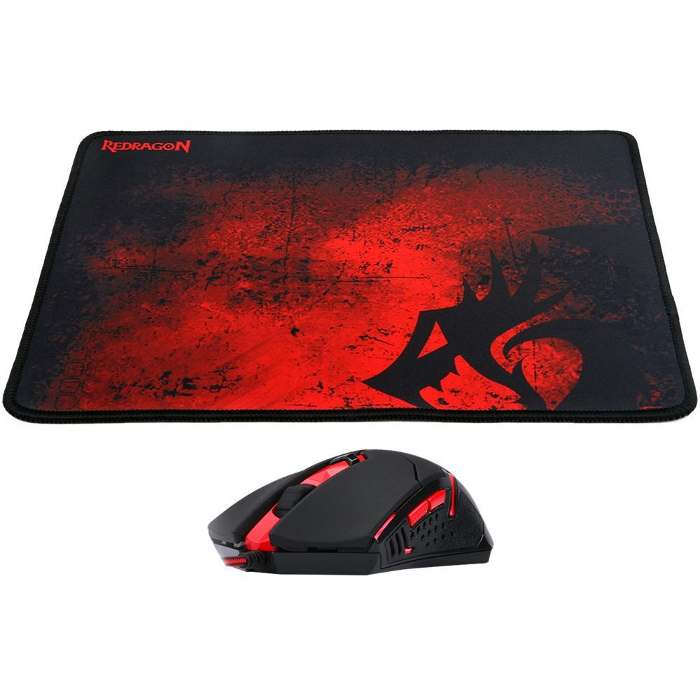 Kit Gamer Mouse M601 Ba Centrophorus REDRAGON + Mousepad Red