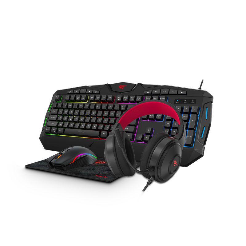Kit Gamer Teclado e Mouse, Headset e Mousepad Havit KB502CM