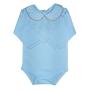 Body para Bebê Gola Bordada Fustão com Bolinhas