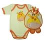 Kit Body Manga Curta + Babador para Bebê Girafa