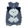 Macacão para Bebê Curto Listrado com Bordado Cachorrinha