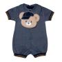 Macacão para Bebê Curto Malha/Jeans com Babador Ursinho