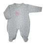 Macacão para Bebê Estampado Coração é Bordado Elefantinho