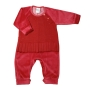 Macacão para Bebê Longo Plush com Detalhe de Tricot