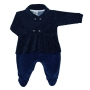 Macacão para Bebê Plush Poá Azul Marinho