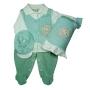 Saída Maternidade para Bebê em Plush Verde Claro