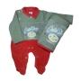 Saída Maternidade para Bebê em Plush Vermelha com Cinza