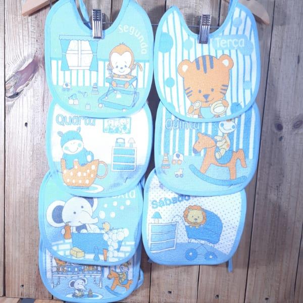 Babador para Bebê Semaninha Azul Claro