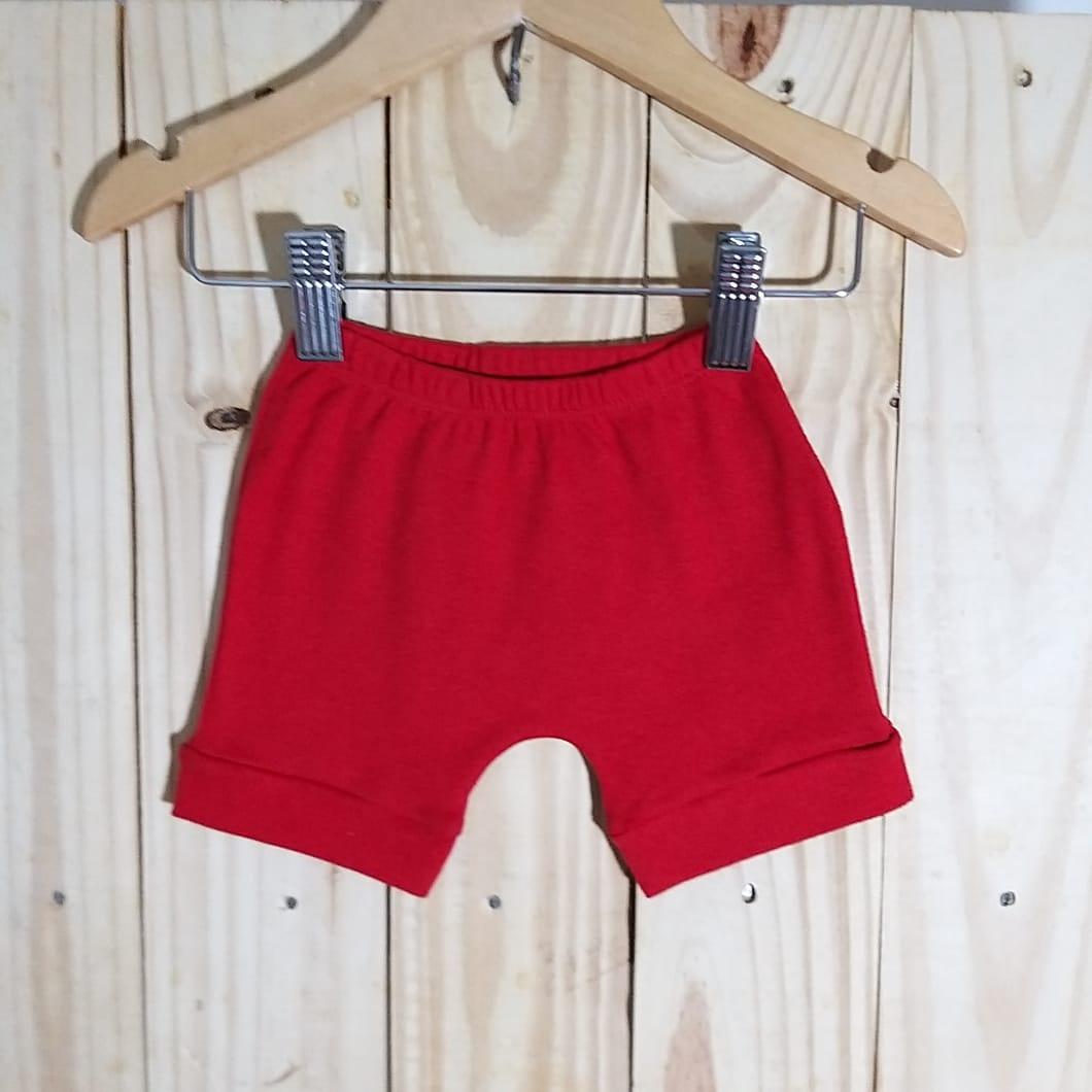Bermuda Saruel  para Bebê Malha 100% Algodão Vermelho