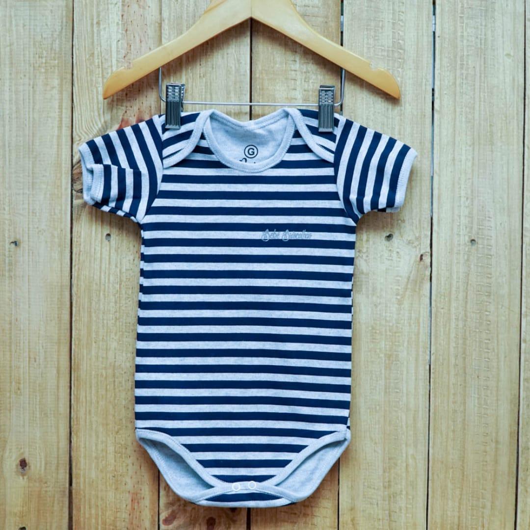 Body para Bebê Listrado  Manga Curta