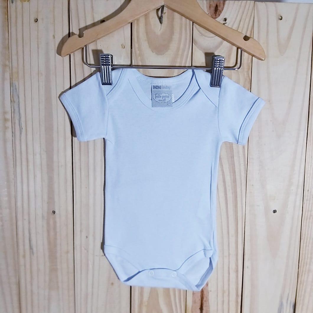 Body em Malha Leve Ribana  para Bebê Manga Curta Branco