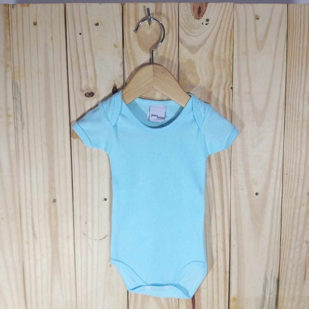 Body em Malha Suedine para Bebê Manga Curta Azul Claro