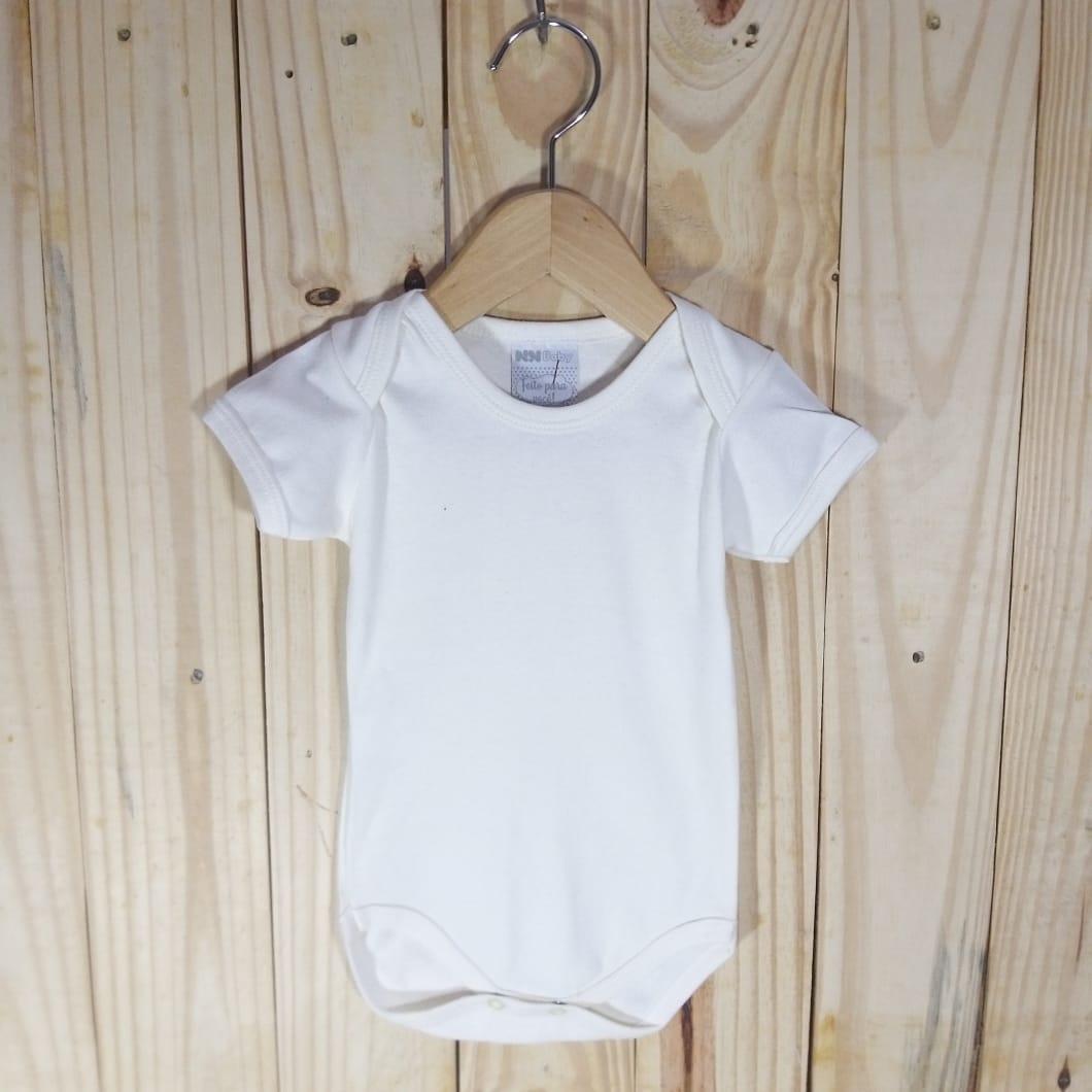 Body em Malha Suedine para Bebê Manga Curta Off White