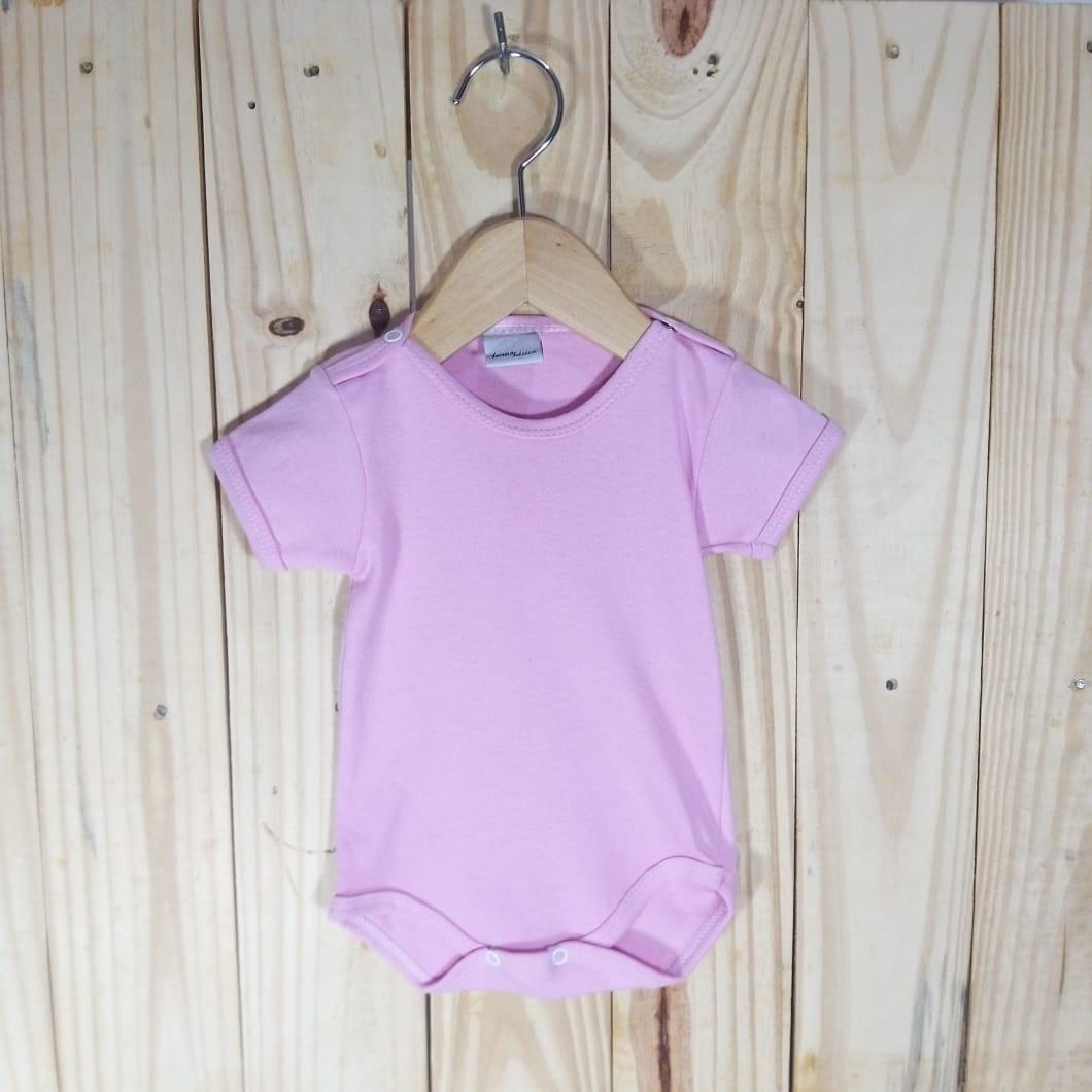 Body em Malha Suedine para Bebê Manga Curta Rosa
