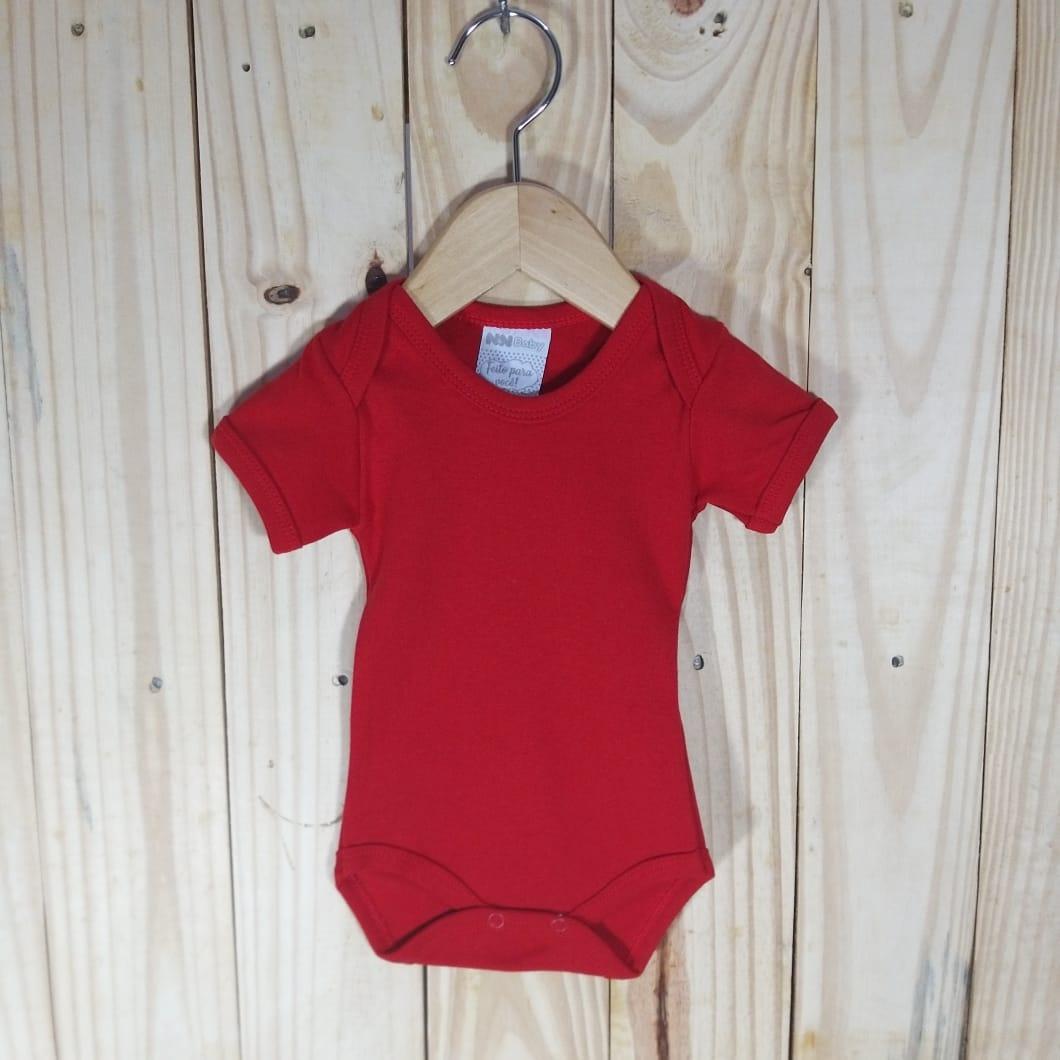 Body em Malha Suedine para Bebê Manga Curta Vermelho