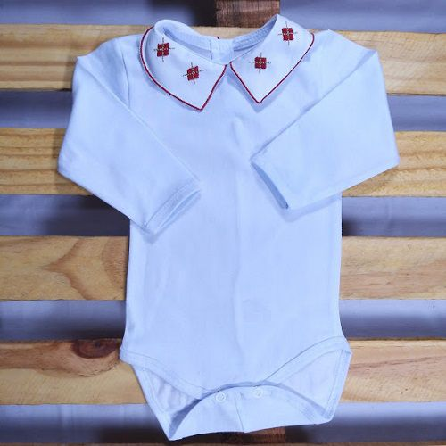 Body  para Bebê Gola Bordada Losango