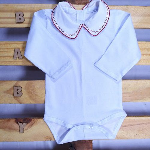 Body para Bebê Gola Bordada Barrado Grego