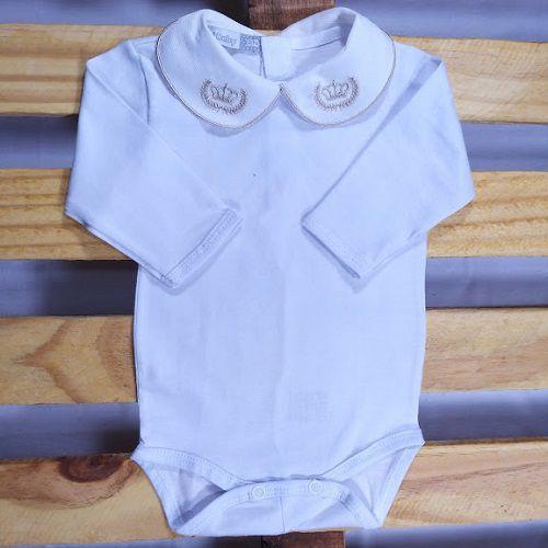 Body  para Bebê Gola  Bordada  Coroa