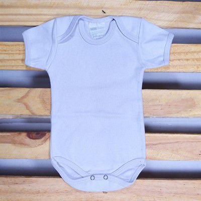 Body para Bebê em Malha Suedine  Manga Curta 8 Prata