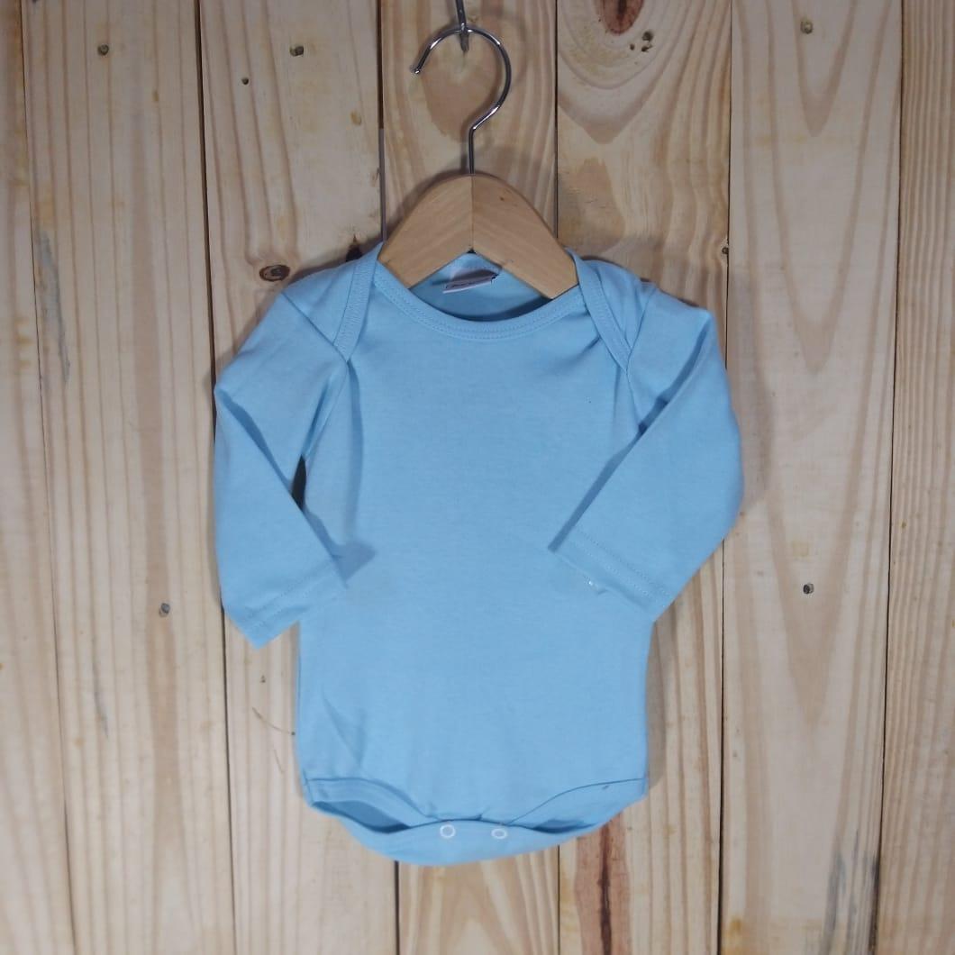 Body Manga Longa Liso em Malha Suedine 100% Algodão Azul Bebê