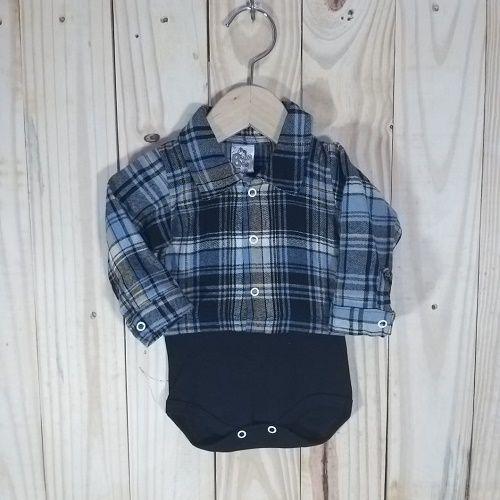 Body para Bebê Camisa Xadrez marinho com amrelo